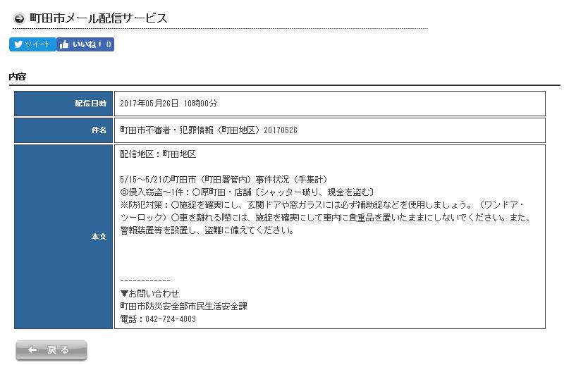 町田市メール配信 不審者・犯罪