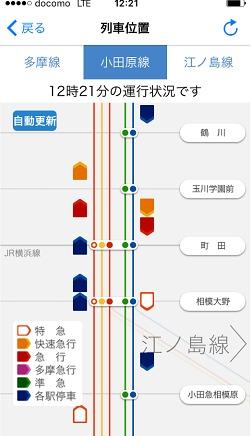 小田急アプリ 平常時の列車位置