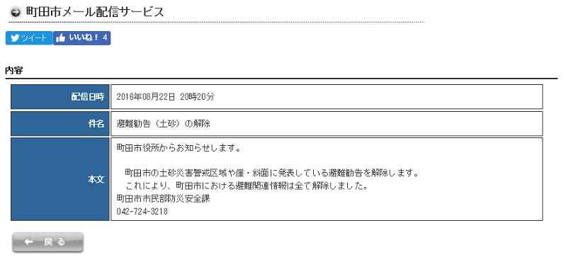 町田市20時避難勧告(土砂)解除メール