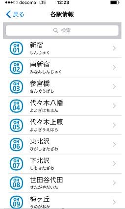 小田急アプリ 各駅情報