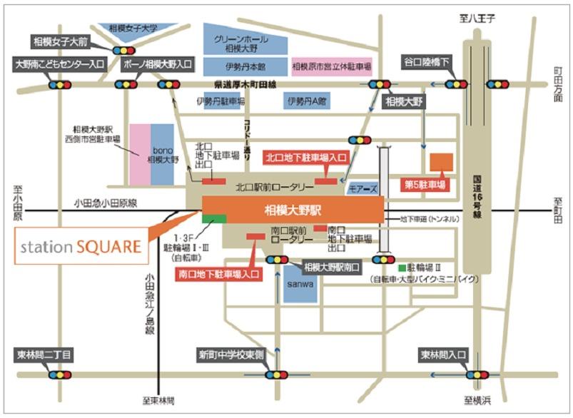 相模大野駅周辺の駐車場案内図