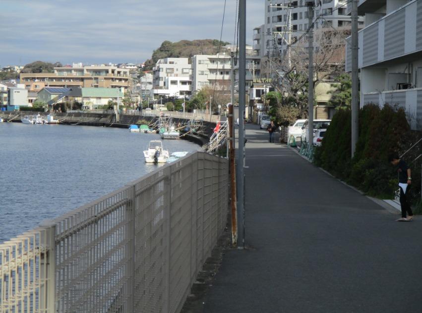 片瀬川沿いの道