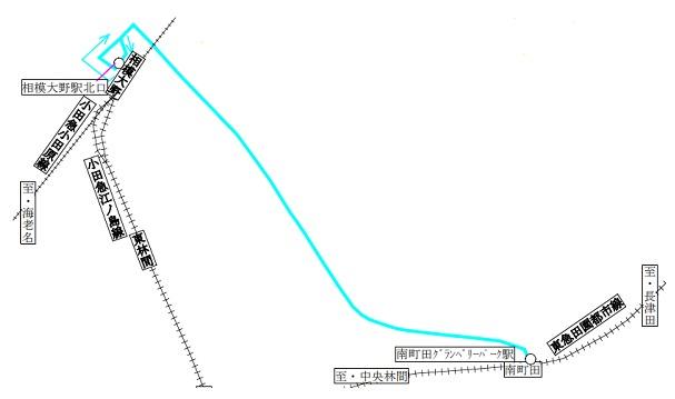 相模大野からの運行経路図