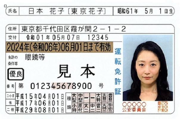 運転免許証(表面) 旧姓併記